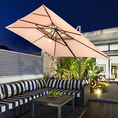 Abba Patio 9 x 12-Feet Rectangular Offset Cantilever Umbrella with Solar Lights, Beige