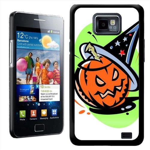 Fancy Een Snuggle Halloween Pompoen Het dragen van Heksen Hoed Ontwerp Hard Case Clip Op Back Cover voor Samsung Galaxy S2 i9100