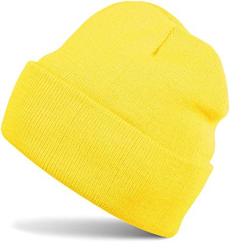 styleBREAKER Klassische Beanie Strickmütze, warme Feinstrick Mütze doppelt gestrickt, Unisex 04024029, Farbe:Gelb
