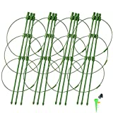 MUDSHI Garden Plant Support Cage, Tomato Cage, 4 Pack Plant Cages with 4 Self Watering Spikes and 20 Plant Clips (18'')