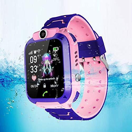 TAKE FANS Niños GPS reloj inteligente teléfono para niños Niñas inteligente posicionamiento reloj impermeable 1.4 pulgadas pantalla a color Smartwatch (rosa)