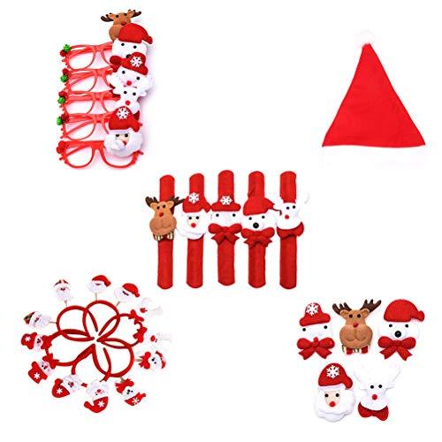 TOYMYTOY Weihnachten Mitgebsel Snap Armaband Stirnband Weihnachtsmütze Brillen Brosche Weihnachten Party Gastgeschenk 5 Stück (Zufällige Mustet)