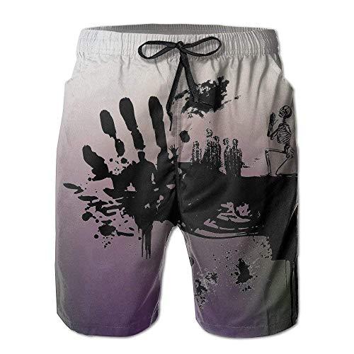 GOSMAO Swimming Trunks Schädel dunkle Hände drucken Gra-ffiti Herren Badehose Schnelltrocknend mit Taschen und Kordelzug