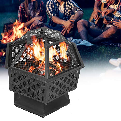 Zerodis Steel Fire Pit for Garden, Firepit Bowl Heater with Flame-Retardant Mesh Lid Fireplace Patio Backyard for Outside Camping Patio