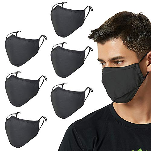 Face Masks, Reusable Washable Cotton Face Mask, Adjustable Earloop Dust Face Mask, Breathable and Comfortable Face Cover Protection from Dust, Pollen (6 Pack)