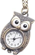 81stgeneration Women's Analogue Quartz Antique Style Owl Pocket Watch Brass Pendant Necklace, 78 cm