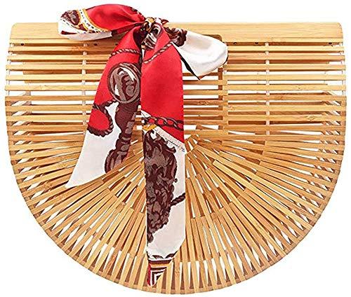 Luxus Bambus Handtasche,High Fashion Handgemachte Handtasche für Frauen Top Griff Taschen für Sommer Strand,Handgefertigt Korbtasche,Damen Bambus Handtasche mit Grifft (bamboo bag S)