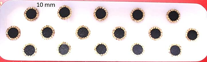 Glamorous Collection Bindis Black Round India Bindi Face Jewels Studded with Gold Rhinestones Outline