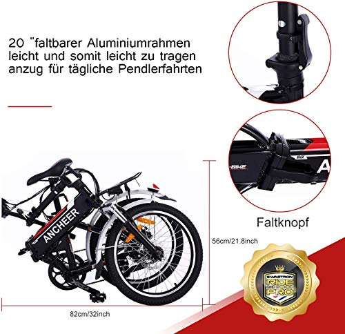 51TJhxvTM L - ANCHEER E-Bike Elektrofahrrad, 20 Zoll Pedelec Elektrisches Fahrrad mit Lithium-Akku (36 V 8Ah) & 250 W Motor & Shimano 7-Gang-Schalthebel
