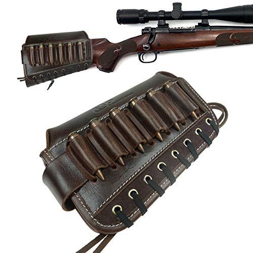 WAYNE'S DOG Real Leather Rifle Cheek Riser Buttstock Holder, Ajustable 30-06, 308, 45-70.50 Gun Butt Stock Ammo Holder (Brown)