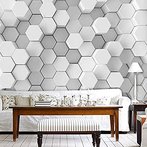 XHXI Moderno Minimalista Blanco Gris Hexágonos geométricos Impresión de arte en HD Papel tapiz fotog Pared Pintado Papel tapiz 3D Decoración dormitorio Fotomural sala sofá pared mural-350cm×256cm