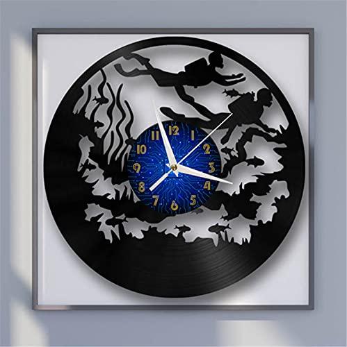 Reloj de Pared de Vinilo de 12 Pulgadas con Tema de Buceo, Reloj de Pared de Vinilo para Cocina, hogar, Sala de Estar, Dormitorio, Escuela (B) sinLED, música,Arte, Reloj de Vinilo Vintage