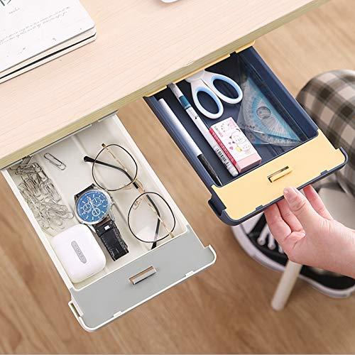 Under Desk Drawer Organizer Self-Adhesive Under Table Drawer Pencil Storage Tray Hanging Hidden Storage Box for Office School Kitchen Home Storage 2 Packs