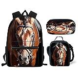 Nopersonality - Juego de Mochila Escolar para Adolescentes y niñas con Bolsa de Almuerzo, 3 en 1, diseño de Animales, Horse Head School Bag Set (Negro) - Nopersonality