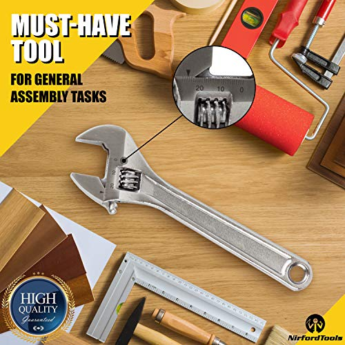NirfordTools 8-Inch Adjustable Wrench