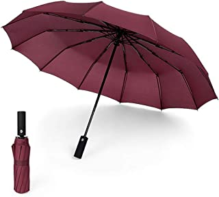 Windproof Travel Umbrella with Teflon Coating Auto Open Close Button and Upgraded Comfort Handle Lightweight 12 Ribs Automatic Canopy Compact (Wine red)