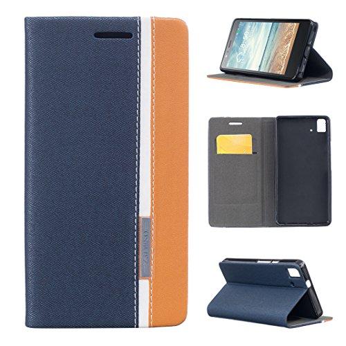 Asnlove Aquaris E5 4G LTE / E5s Funda Libro de Cuero con Tapa, Flip Case Libro de Lona Impresión, Soporte Plegable, Ranuras para Tarjetas y Billetera para BQ Aquaris E5 4G LTE / E5s