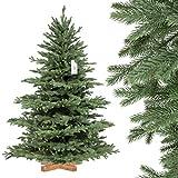 FairyTrees Albero di Natale Artificiale Pino, innevato Bianco Naturale, Materiale PVC, Vere pigne, incl. Supporto in Legno, 150cm
