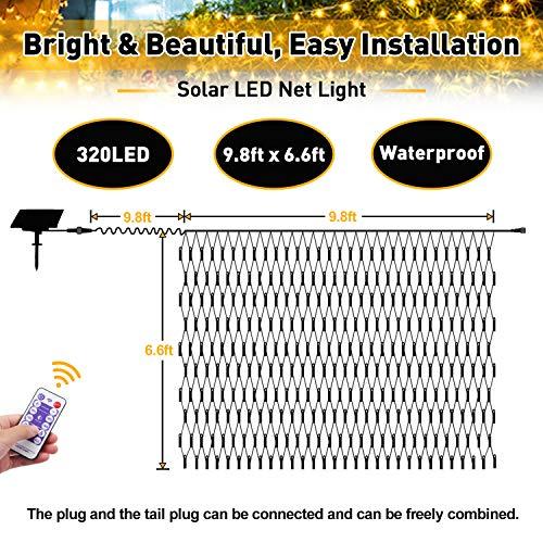 JMEXSUSS Solar Net Mesh String Lights Outdoor Waterproof Lights, 8 Modes Remote Control Waterproof Solar Net Lights Outdoor Green Wire 9.8ft x 6.6ft 320 LED Mesh Lights(Warm White)