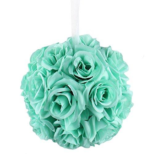 """AerWo Mint Green Rose Flower Ball Artificial Pomander Bouquet 7"""" inch Kissing Ball Wedding Centerpiece Decoration"""