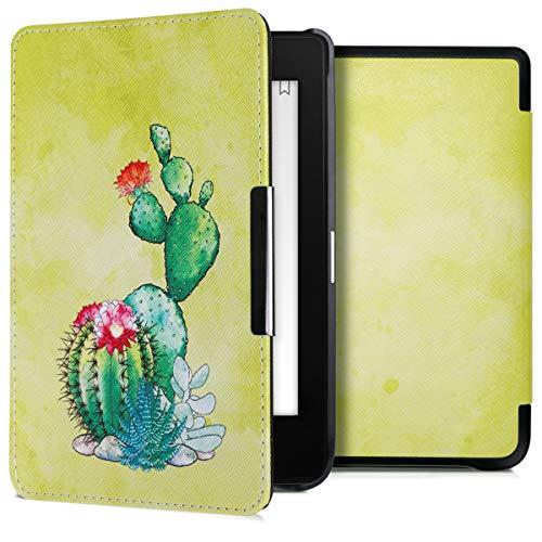 kwmobile Hülle kompatibel mit Tolino Shine 3 - Kunstleder eReader Schutzhülle Cover Case - Kaktus Blüte Grün Pink Hellgrün