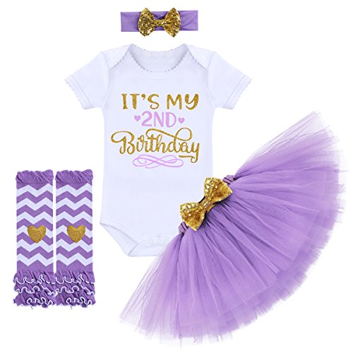 OBEEII Fashionable It€™s My 1st / 2nd Birthday Outfit Baby Girl Romper Tutu Skirt Glitter Sequin Bowknot Headband Leg...