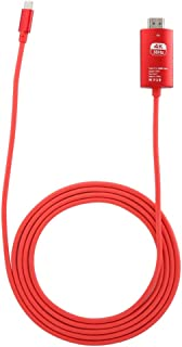 Zopsc 4Kx2K USB C to HDMI Adapter Type-C to HDMI Adapter Cable Converter Cable for Mobile Phone(Red)