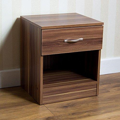 Vida Designs Riano Nachttisch mit Schublade, Walnuss, Ablagetisch