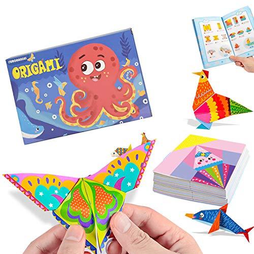 Kisem Doble Cara Papel de Origami, Doble Cara, 14 x 14cm, contiene 152 Origami Cara y 72 Páginas Que Enseña Libro De Origami, para niños, principiantes y clases de manualidades escolares