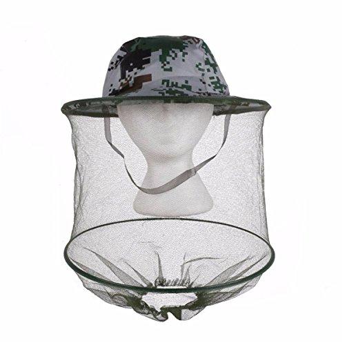ECYC Camouflage Anti-Moustique Abeille Bug Insecte Chapeau De Chapeau De Masque De Mouche, Cap De PêChe De Protection De Visage De Filet De Maille