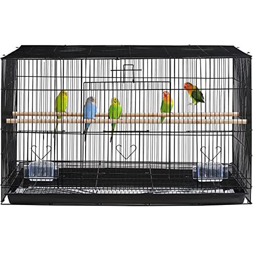 Yaheetech Large Birds Cage Iron Flight Breeding Cage for Small Pet Birds Budgies/Parrots/Cockatiels/Parakeets/Conures/Lovebirds Black
