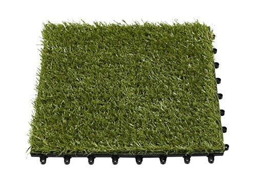 andiamo Kunstrasen Fliese Grasfliese für Balkon oder Terrasse 10er Set 30 x 30 cm = 0,9 m² in grün, 10
