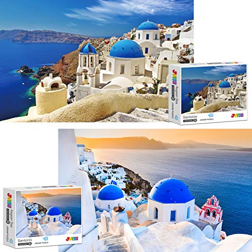 JOYIN Two Pack 1000 Pieces Jigsaw Puzzle for Adults (27.56' x 19.69'), Fun Challenging Puzzle, Collection Gift Home Art Decor, Santorini and Aegean Sea Puzzle