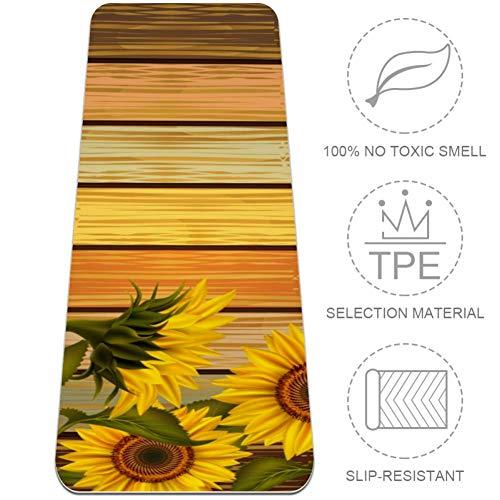 TIZORAX Zonnebloem van gekleurd houten plank, antislip, dikke TPE-yogamat, trainingsmat voor yoga, pilates, gym, home vrouwen en mannen