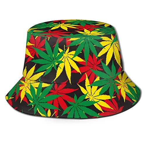 136 Buona Pasqua Marijuana Rasta Colori Erbacce Cappello Cappello Sole per Viaggi Estivi Spiaggia All'aperto UV Unisex Pescatore Cappelli