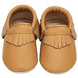 Yavero Zapatillas de Cuero Bebe Blanditos Zapatos para Bebe Ligeros Zapatillas de Andar Niño Niña Cómodas Zapatitos Primeros Pasos Infantiles, Marrón 6-12 Meses