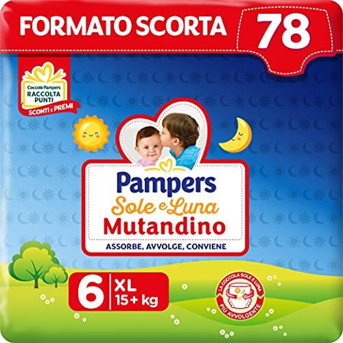 Pampers Sole&luna Pannolino A Mutandino Extralarge, Taglia 6 (5+ Kg), 78 Pannolini, Bianco