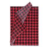 RUSPEPA Papel De Seda Para Envolver Navidad - Papel De Diseño De Cuadros De Búfalo Negro Rojo Para Embalaje, Manualidades De Bricolaje - 50 X 70 Cm - 25 Hojas