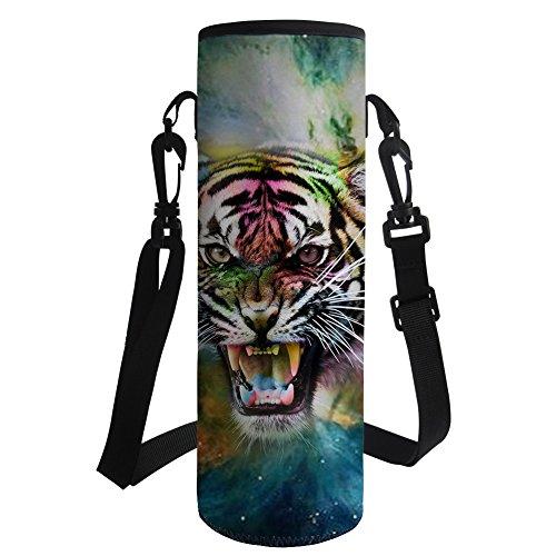 HUGS IDEA Portador de botella de agua Cool Tiger Print Neopreno aislado botella de plástico cubierta para al aire libre