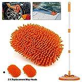 Cepillo de limpieza de automóviles con mango extensible Microfibra de chenilla Cepillo de lavado de limpieza de automóviles, Rotación de 180 grados para la limpieza RV SUV Autos Autobús