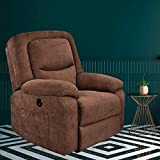 USSerenaY Overstuffed Electric Recliner Chair - Microfiber Recliner Chair - Recliners with Massage and Heat - Reclining Sofa with USB Charge Port for Home Theater Seating, Living Room, Bedroom (Brown)