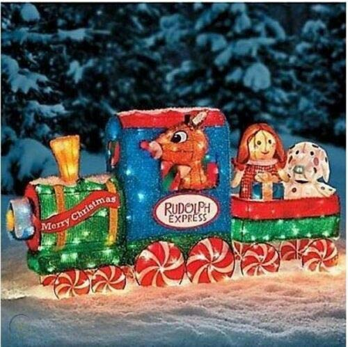 TisYourSeason Lighted 3D Rudolph The Red-Nosed Reindeer Tinsel Train Outdoor Christmas Decor