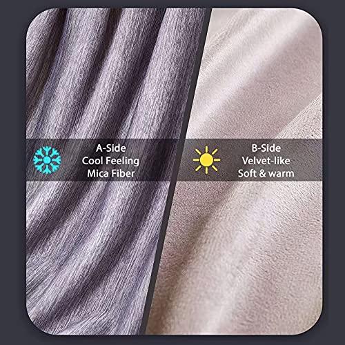 Qisiewell Mikrofaser Kühldecke Selbstkühlende Kuscheldecke Sommerdecke Wohndecke Sofadecke Reisedecke Bettdecke für Erwachsene und Kinder Weich Zweiseitig Kühl / Warm - Grau - 200 x 150 cm