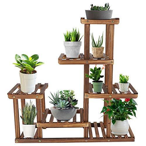 Michellda Soporte para plantas, soporte para flores Escalera de flores de madera multicapa para balcón interior, sala de estar, decoración de jardín al aire libre, 73x 71,5x 20 cm