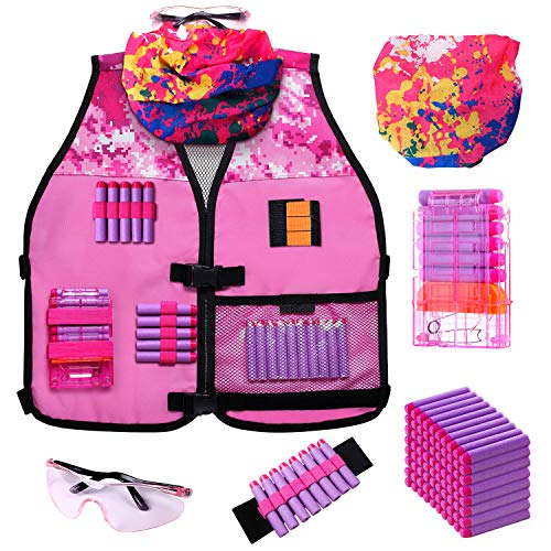 Girls Pink Toy Tactical Vest Kit Compatible with Nerf N-Strike Elite Series with Refill Darts, Reload Clips, Tactical Scarf, Wrist Band and Protective Glasses for Girls by Hely Cancy