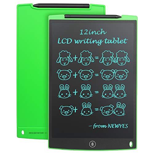NEWYES 12 Tableta de Escritura LCD, Tableta gráfica, Ideal para hogar, Escuela u Oficina. Pilas Incluidas y 2 Imanes para la Nevera (Verde)
