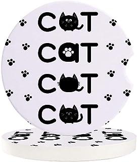 Getränke Untersetzer für Getränkehalter, Set mit 2 Stück, niedliche Katze, Tierpfoten, einfacher, saugfähiger Keramikstein für Auto Untersetzer, Autozubehör, einfache Entfernung vom Autobecherhalter