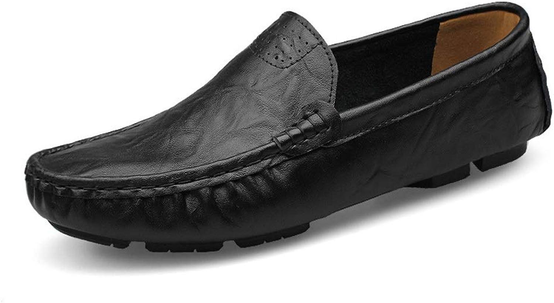 Lazy shoes Lightweight Driving shoes Casual shoes Leather Men's Peas shoes (color   Black, Size   42)