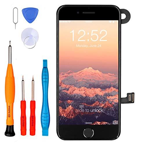 LL TRADER Pantalla para iPhone 7 con Botón de Inicio Negro, Cámara...