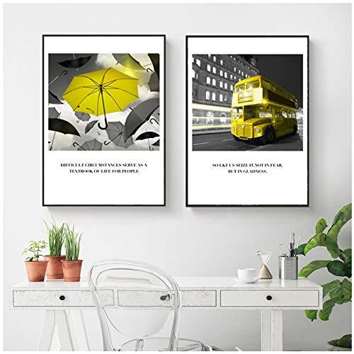 Posters en prints Gele kunst Foto Woondecoratie Muurkunst Nordic Canvas Schilderij Citaat Modern Met lijst-50x70cm (19,7